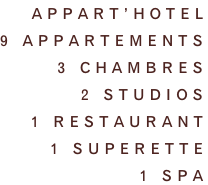 Appart'hotel 9 appartements 3 CHAMBRES 2 STUDIOS  1 restaurant 1 superette 1 SPA